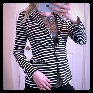 MOSSIMO Black and White Striped Blazer